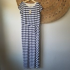 Chico's floor length navy stripe dress